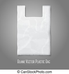 Blank white plastic bag with place for your design and branding. Vector