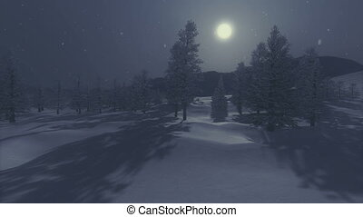 Snowbound spruce forest under full - Nighttime view of the...