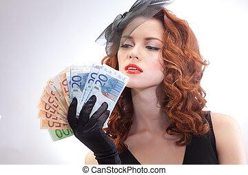 giovane, donna, presa a terra, euro, soldi,