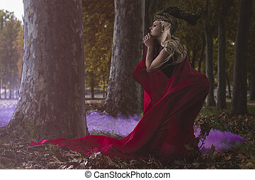 love, beautiful blonde warrior with golden helmet and red...