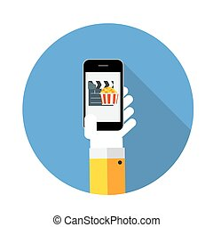 Flat Design Concept Cinema Icon Vector Illustration With...
