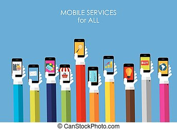 Mobile Services Flat Concept for Web Marketing. Vector -...