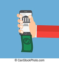 Mobile Banking Payment Flat Concept Vector Illustration...