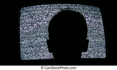child head silhouette and tv