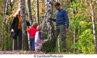 family of four walking around birch - Family of four walking...