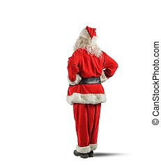 Santa claus back - Santa Claus think looking at the  wall