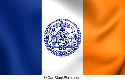 Flag of New York City, USA Close Up