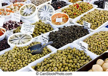 olives, street market in Salles-sur-Verdon, Provence, France