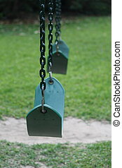 Lonely swingset - Empty swingset at playground