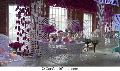 Bridal restaurant interior in pink and white tones - Wedding...
