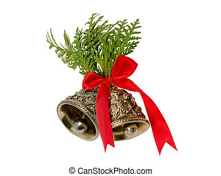 Christmas bells decorated with fir branches and red ribbon
