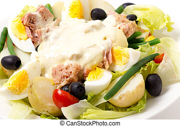 Nicoise salad side view - Freshly made traditional nicoise...