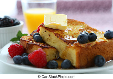 French Toast and Blueberries in breakfast setting