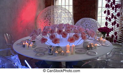 Wedding restaurant interior decorated with roses - View of...