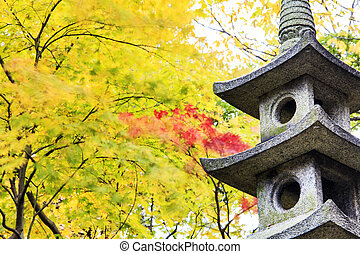 Kotoji Lantern in Kenrokuen garden has two legs, which...