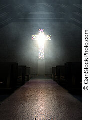Stained Glass Window Crucifix Church - A dim old church...