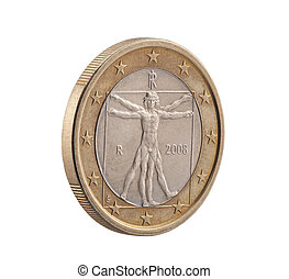 Italian One Euro with Vitruvian Man Clipping path included