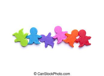 coloridos, pessoas, figuras,
