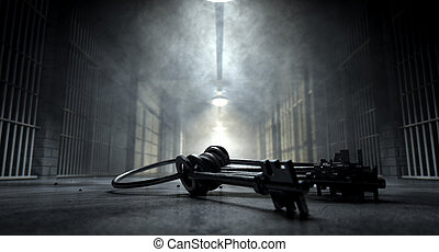 Jail Corridor And Keys - A concept image of an eerie...