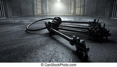 cárcel, célula, con, llaves,