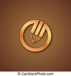 Pencil logo over brown