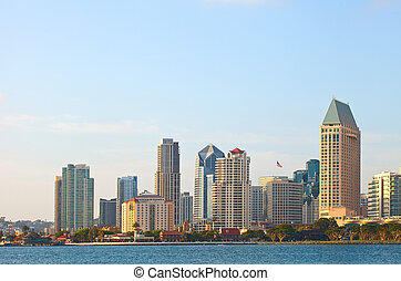 City of San Diego California, USA downtown buildings on a...