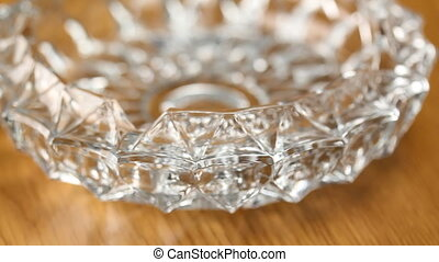 Rotating Crystal ashtray. - Closeup of rotating crystal...