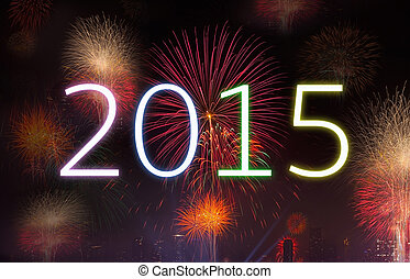 New Year 2015 with Fireworks Party. - New year concept,...
