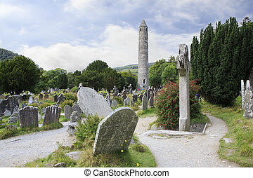 Celtic cemetery and a round tower in Wicklow Mountains...