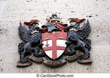 coat of arms represents justice - British coat of arms with...