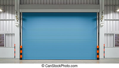 Shutter door or rolling door, night scene.