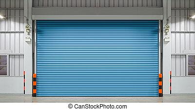 Shutter door or rolling door, night scene.