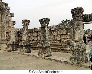 columns,Capernaum synagogue, Israel - ruins in the synagogue...
