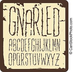 Grunge scratch type font, vintage typography