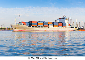 Cargo ship and container with blue sky background