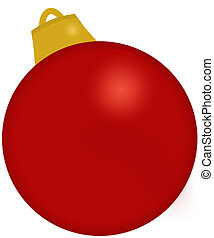 Red Christmas Ornament - A red bulb ornament.