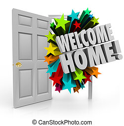 Welcome Home 3d Stars Open Door Greeting Homecoming -...
