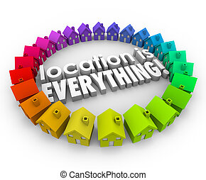 Location is Everything 3d Words Houses Real Estate Homes -...