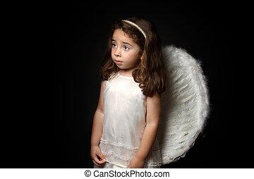 Pretty little angel looking sideways