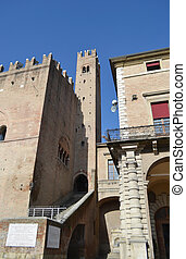 Old medieval buildings on Piazza Cavour in the center of...