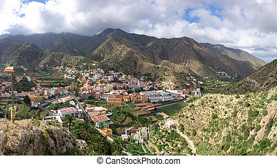 La Gomera - Center of Vallehermoso - La Gomera - Panoramic...