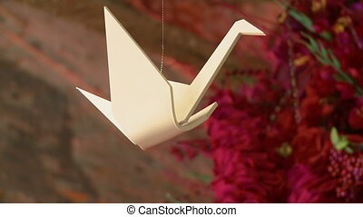 White crane as part of wedding decoration - View of white...