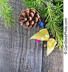 pinecones and christmas decoration on a table