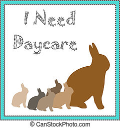 bunny daycare - rabbit family brown bunnies in blue frame...