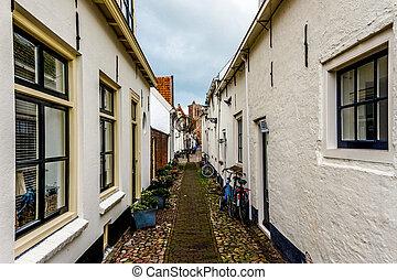 Quiet narrow street in a village