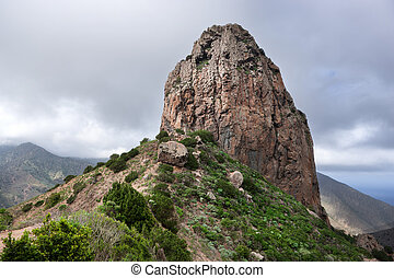 La Gomera - Roque El Cano above Vallehermoso in the green...