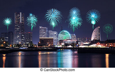 Fireworks celebrating over marina bay in Yokohama City,...
