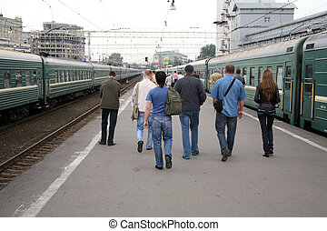 People on railway station