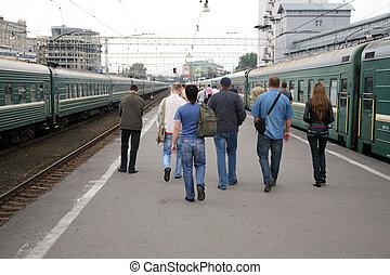 鉄道, 駅, 人々