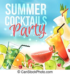 Cocktail party poster - Cocktail party summer poster with...